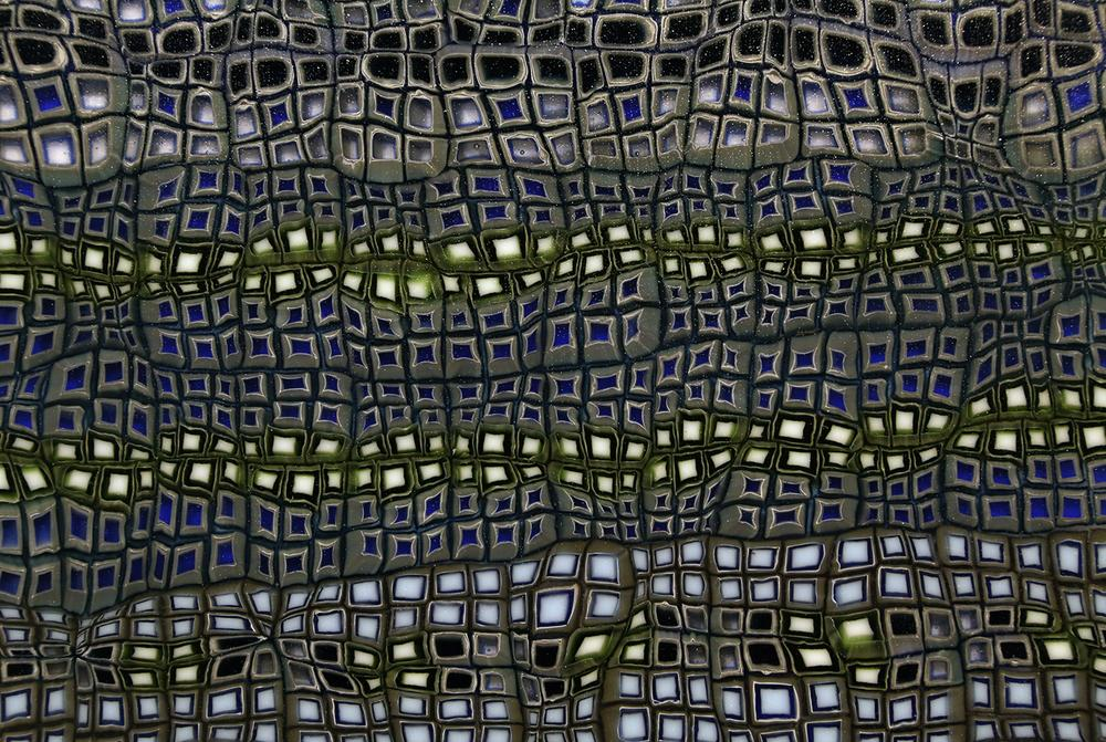 Untitled (Abstract Pattern) No. 1 (detail) Glass Murrine, fused and cold worked panel 280mm x 350mm x 15mm Photograph: Owen Johnson