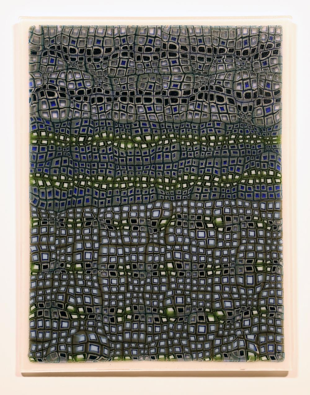 Untitled (Abstract Pattern) No. 1 Glass Murrine, fused and cold worked panel 280mm x 350mm x 15mm Photograph: Owen Johnson